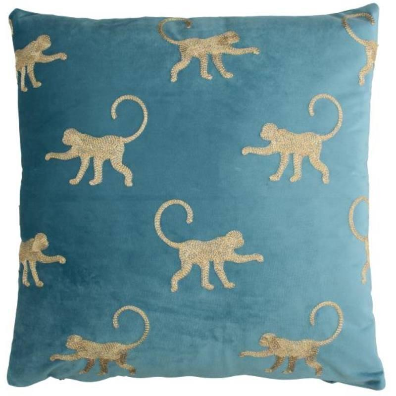 Kissen Monkey Velvet Blau-My Dutch Living Room-My Dutch Living Room GmbH