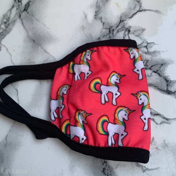 Unicorn Kids Face Cover With Pocket