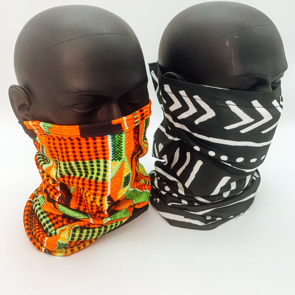 Kente Neck And Face Cover With Filter Pocket