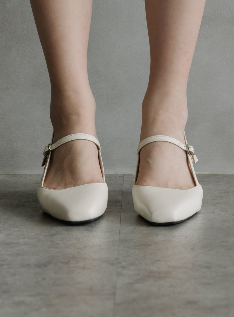 Mary Jane Block Heels in Milky White