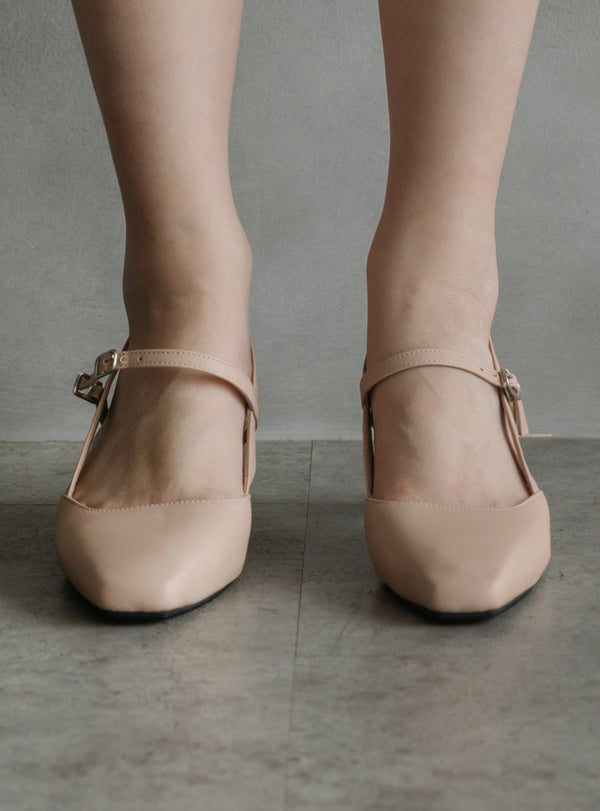Mary Jane Block Heels in Nude Pink