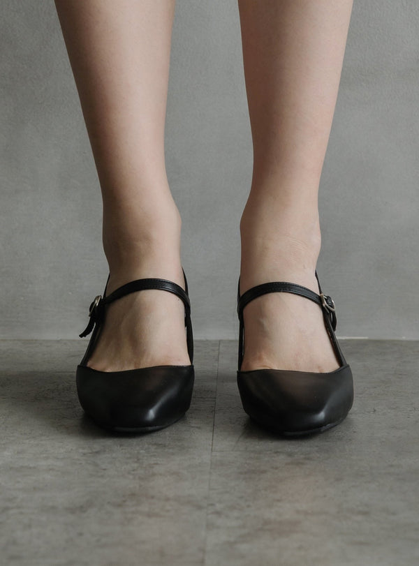 Mary Jane Block Heels in Black