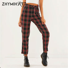 Load image into Gallery viewer, ZHYMIHRET  2019 Autumn Cotton Straight Plaid Women's Pants  Ankle-Length Zipper Capris Casual Mid Waist Trousers Pantalon Femme