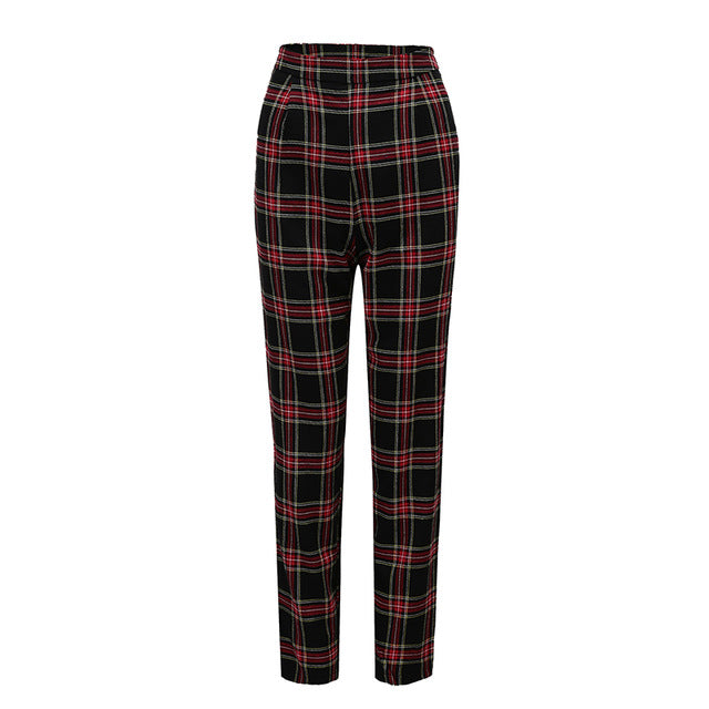 ZHYMIHRET  2019 Autumn Cotton Straight Plaid Women's Pants  Ankle-Length Zipper Capris Casual Mid Waist Trousers Pantalon Femme