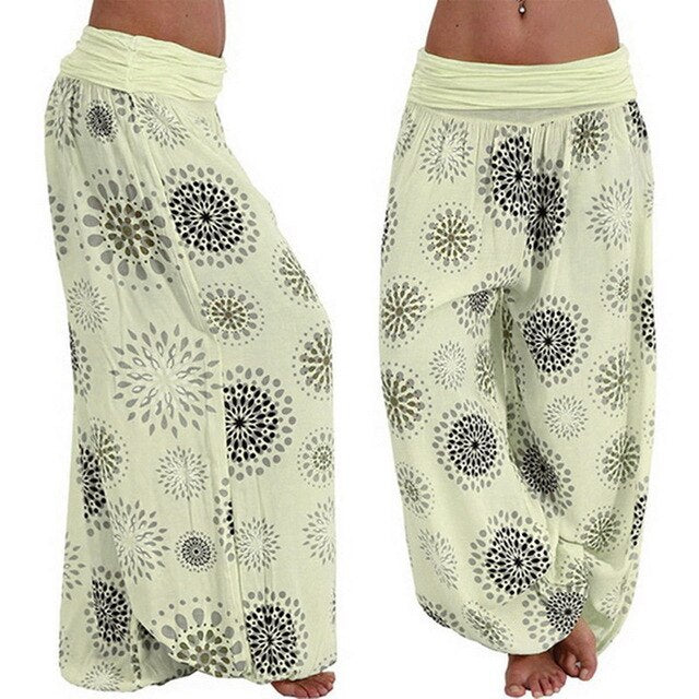 NIBESSER 2019 Boho Beach Women Pants Fashion Loose Bohemian Fashion Printed 2019 Female Capris Beach Loose Long Pants