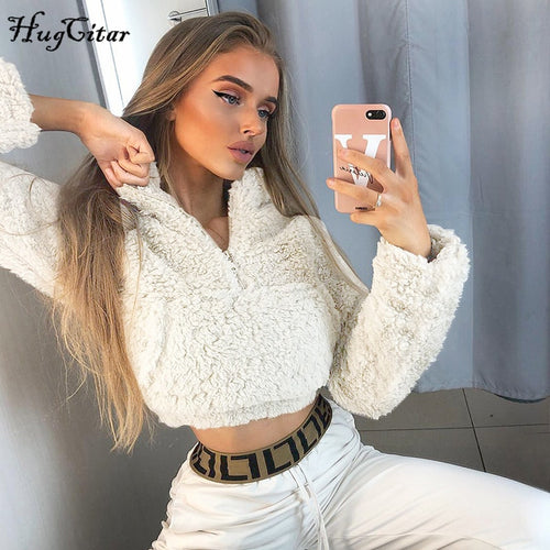 Hugcitar 2019 long sleeve zipper pocket patchwork Faux lambswool crop tops autumn winter women streetwear solid coat jacket