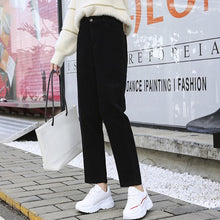 Load image into Gallery viewer, BGTEEVER Plus Size Autumn Winter Women Corduroy Pants Casual High Waist Straight  Female Pants Streetwear Women Trousers Capris