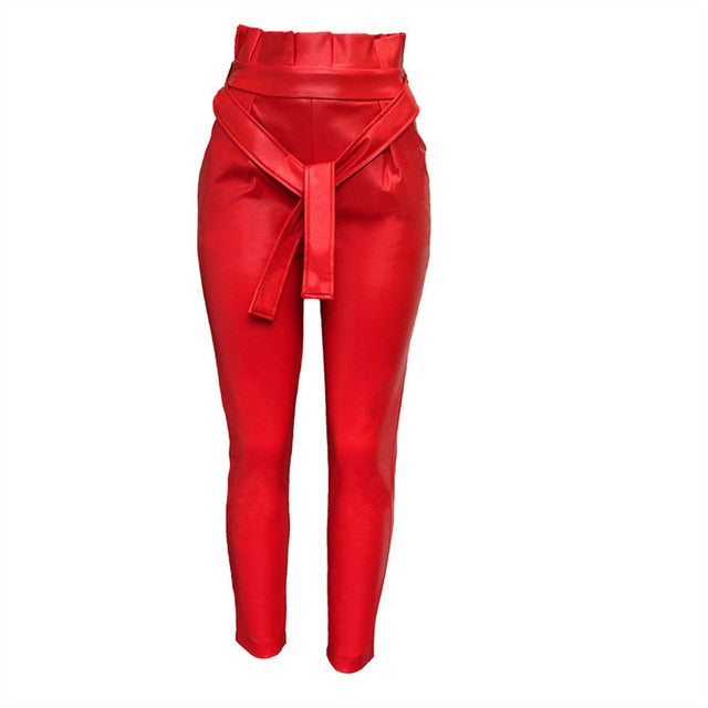 2019 Summer Women Ol Frills High Waist Sashes Ankle-Length Pants Solid Fashion Skinny Pu Pencil Pants