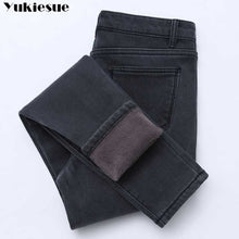 Load image into Gallery viewer, 2019 Winter Jeans Women Gold Fleeces Inside Thickening Denim Pants High Waist Warm Trousers Female jeans woman Pants Plus size
