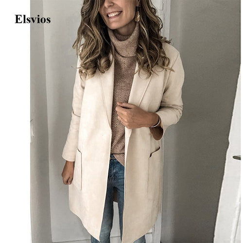 Autumn Long Sleeve Patch Pocket Coat Winter Turn-Down Collar Jacket Overcoat Casual Simple Plus Size Tops Outwear Windbreake 3XL