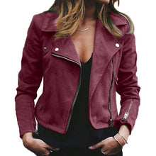 Load image into Gallery viewer, Jacket Women Leather Jacket 2019 Autumn Winter New Lapel Diagonal Zipper Jackets Short Ladies Plus Size Loose Jacket Coat 2XL