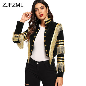Fashion Lady Fringe Patched Metallic Double Breasted Stripe Black Gothic Jacket Women Autumn Stand Collar Cropped Jacket Women