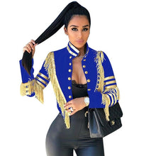 Load image into Gallery viewer, Fashion Lady Fringe Patched Metallic Double Breasted Stripe Black Gothic Jacket Women Autumn Stand Collar Cropped Jacket Women