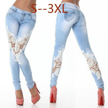 Load image into Gallery viewer, Street Fashion Slim Jeans Lace Pants Woman Long Lace Jeans White/Black/Dark Blue/Light Blue