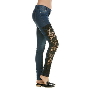 Street Fashion Slim Jeans Lace Pants Woman Long Lace Jeans White/Black/Dark Blue/Light Blue