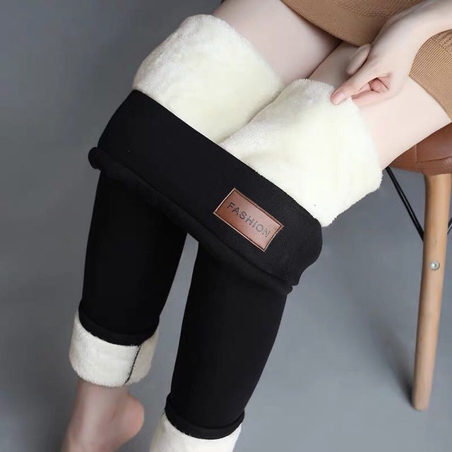 Woman Lamb Down Hit Velvet Pant Leggings Knicker Girl Winter Thickening Clothes Trousers Female High Keep Warm Pencil Pants