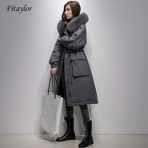 Fitaylor Winter Large Real Fox Fur Collar 90% White Duck Down Jacket Women Loose Long Down Coat Hooded Outwear Warm Thick Parka