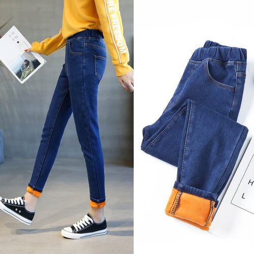High waist Stretch Denim Pencil Pants Plus size 5XL 6XL Winter Female Thick Plus Velvet Fleece Warm Women Skinny Jeans trousers