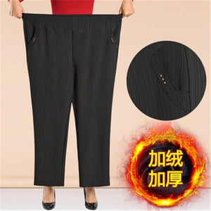 Plus Size 7XL 8XL Women Winter Thick Warm Pants Autumn Casual High Waist Elastic Straight Pants 2020 Middle-age Loose Trousers
