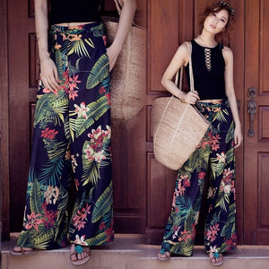 Nice WoMen Summer Retro Print Bohemian Wide Leg Pants Loose Casual High Waist Wide Legs Trousers Beach Holiday Pants