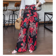 Load image into Gallery viewer, Nice WoMen Summer Retro Print Bohemian Wide Leg Pants Loose Casual High Waist Wide Legs Trousers Beach Holiday Pants