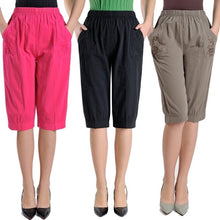 Load image into Gallery viewer, Plus Size Middle Aged Women High Waist Straight Pants Fashion Solid Color Loose Calf Length Pants Casual Summer Female Capris