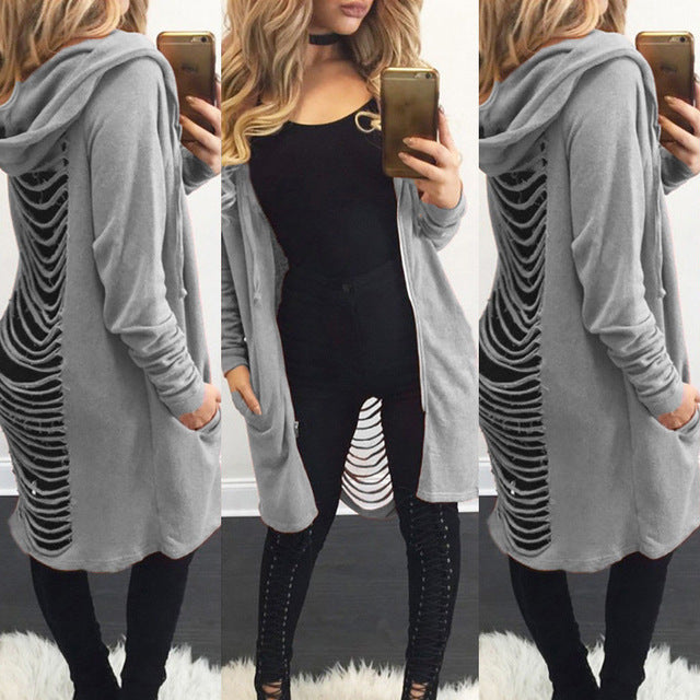 Hot Fashion Women Girls Cardigan Loose Back Hole Sweater Long Sleeve Solid Hoodie Cardigan Outwear Jacket Coat Top