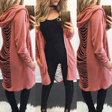 Load image into Gallery viewer, Hot Fashion Women Girls Cardigan Loose Back Hole Sweater Long Sleeve Solid Hoodie Cardigan Outwear Jacket Coat Top