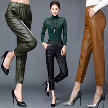 Load image into Gallery viewer, Autumn winter Women's Genuine Leather Harlan Trouser Women Harem Pant Casual Leather Trousers Loose Elastic waist Capris