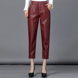Autumn winter Women's Genuine Leather Harlan Trouser Women Harem Pant Casual Leather Trousers Loose Elastic waist Capris