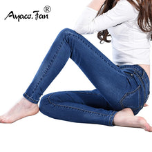 Load image into Gallery viewer, Slim Jeans For Women Skinny Jeans Woman Blue Denim Pencil Pants Stretch Full Length Lady Jeans Blue Pants Calca Feminina