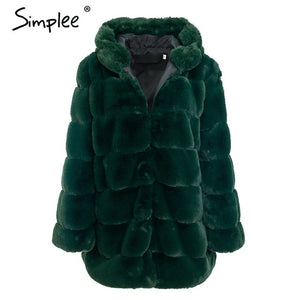 Simplee Vintage fluffy hoodie faux fur coat women Winter grey jacket coat female Plus size warm long casual outerwear overcoat