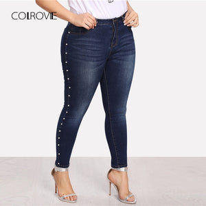 COLROVIE Plus Size Blue Pearls Beads Casual Denim Jeans Woman Autumn Vintage Pocket Skinny Women Jeans Femme Stretchy Pants