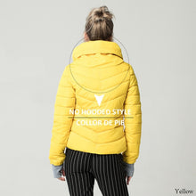Load image into Gallery viewer, Hooded Yellow Women Autumn Winter Jacket Stand Collar Cotton Padded Female Basic Jacket Outerwear Coat chaqueta mujer FICUSRONG