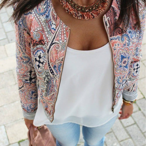 Fashion Winter Women Print Jacket Tops Casual Outwear Zipper Long Sleeve Coat Jackets