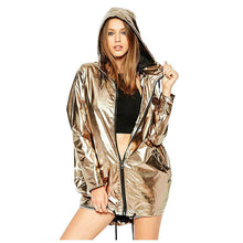 Load image into Gallery viewer, Fashion women's spring and autumn jacket long-sleeved gold PVC raincoat zipper punk unisex waterproof raincoat set