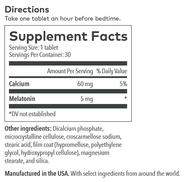Melatonin Supplement Label