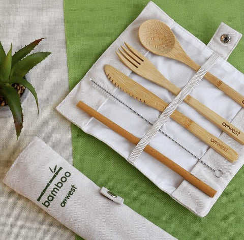 ORIWEST Organic Bamboo Travel Cutlery Set