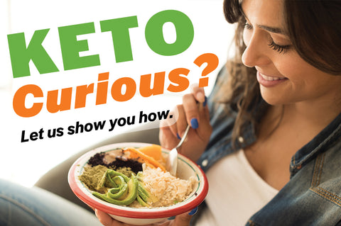Keto Curious? Woman eats a bowl of Healthy Keto foods