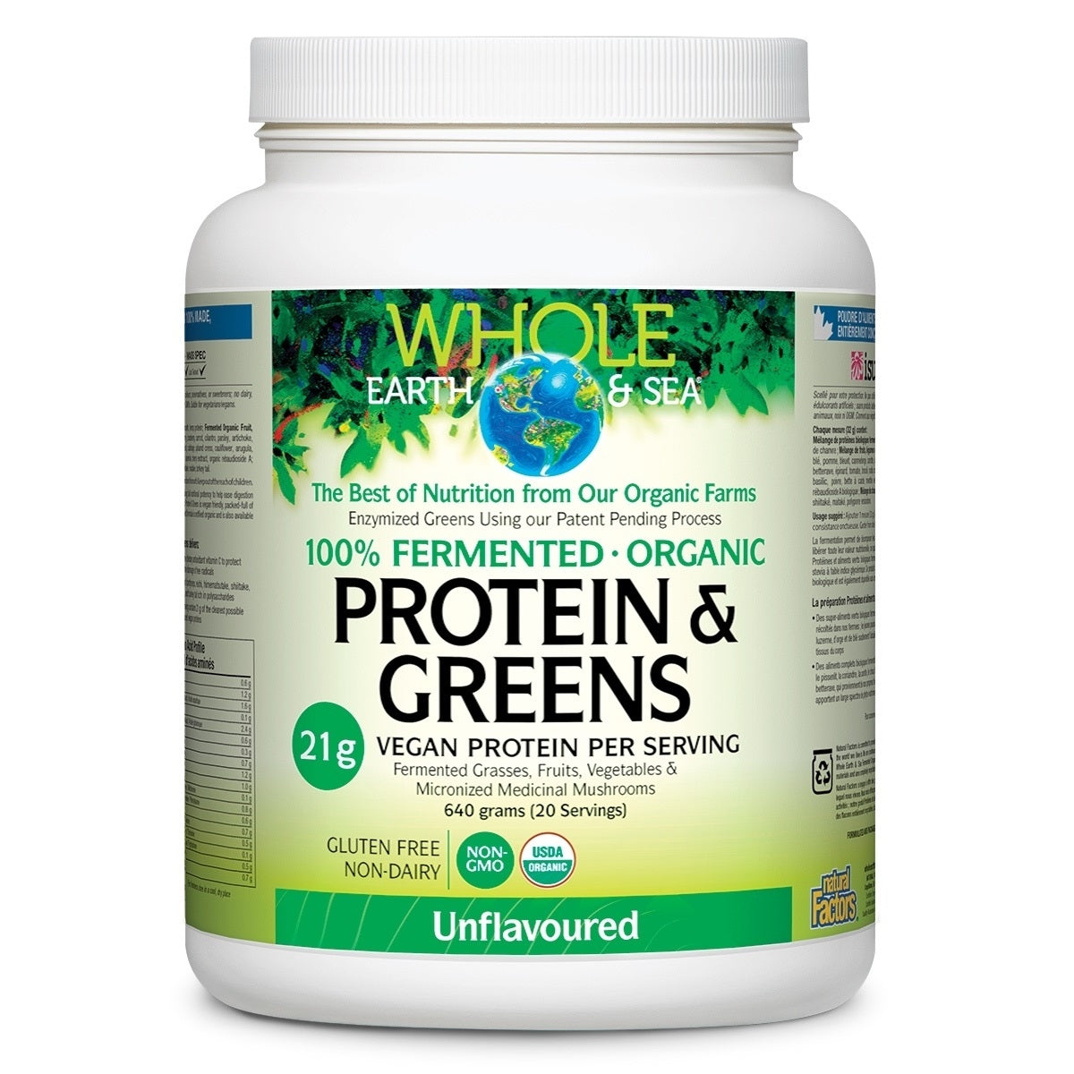 Natural Factors Whole Earth and Sea Org. Vanilla Protein & Greens