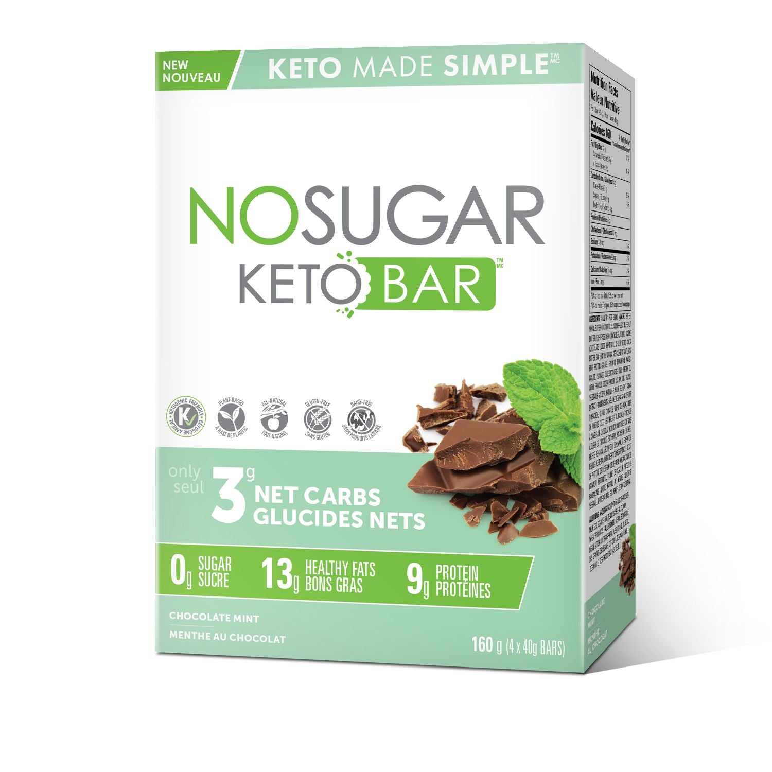 Vegan Pure No Sugar Keto bar Choco Mint