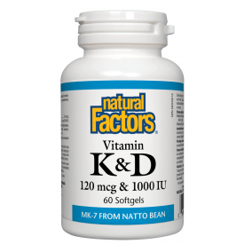 Natural Factors Vitamin K & D 120mcg & 1000IU