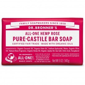 Dr Bronners Organic Rose Oil Pure Castile Soap Bar
