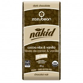 Zazubean Dark Chocolate Bar Nakid Nibs Vanilla