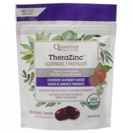 Quantum TheraZinc Elderberry Raspberry lozenges Org.