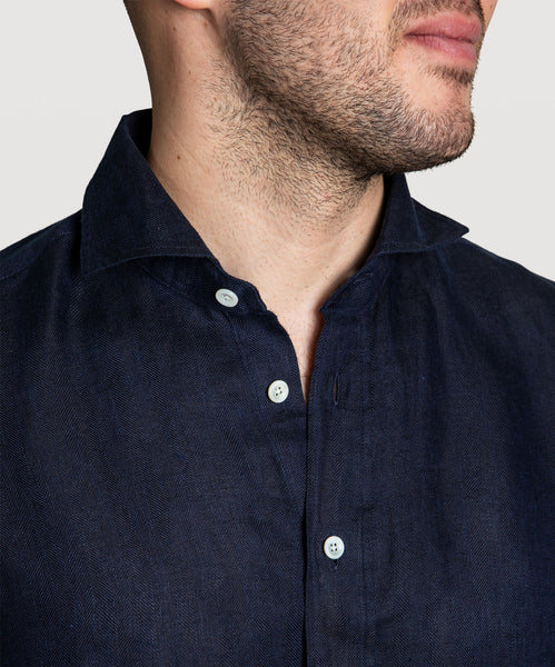 Casual Herringbone Linen Shirt