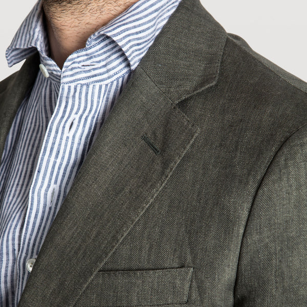Casual Herringbone Linen Jacket