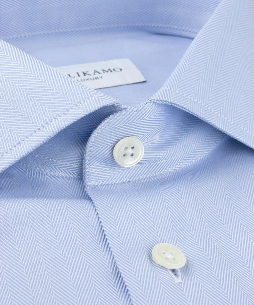 Luxury Shirt Herringbone Blue