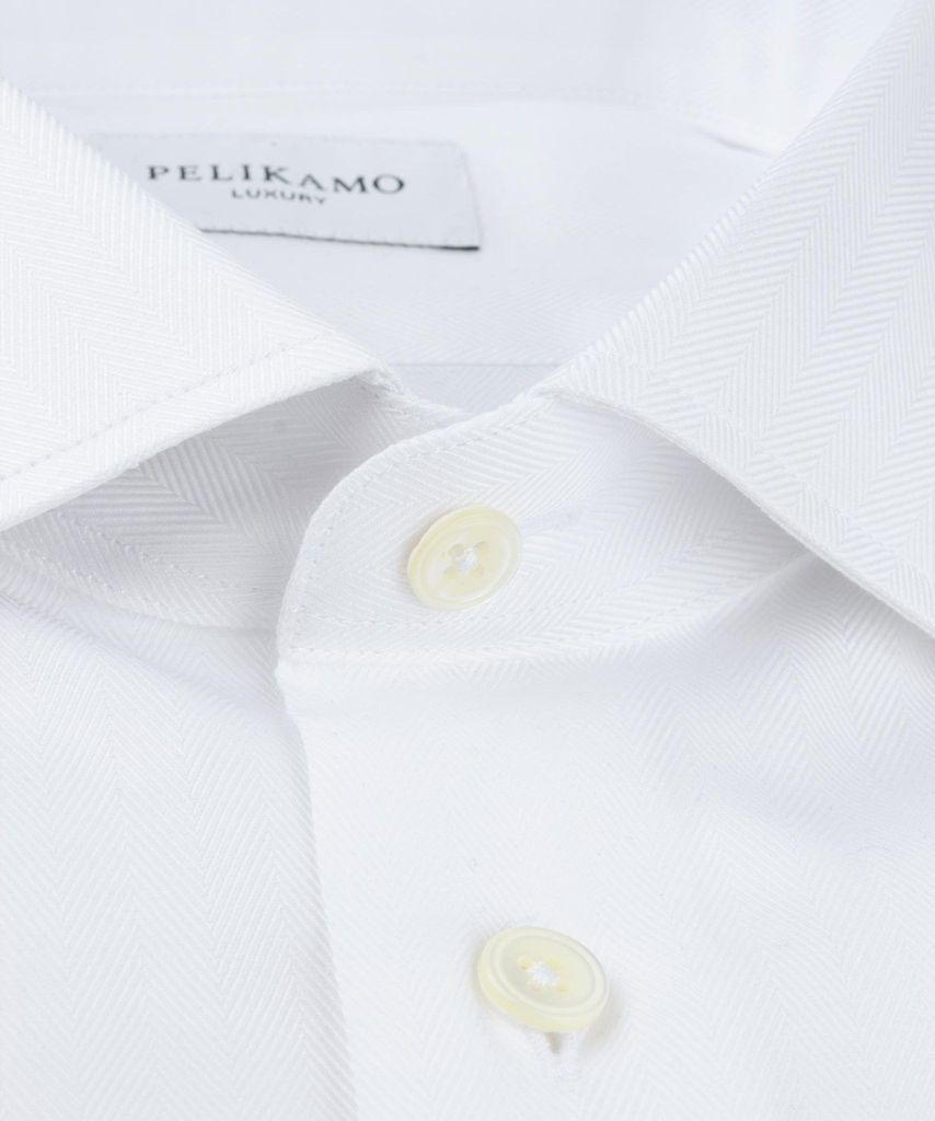 Luxury Shirt Herringbone White