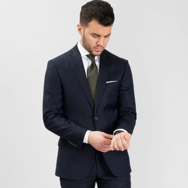 Suit Super 130s Pinstripe - Blue